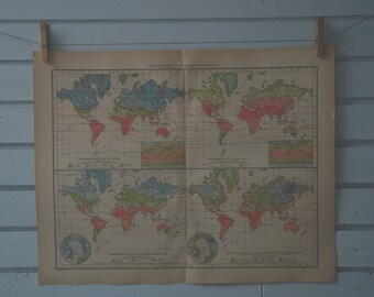 1906 Vintage World Map