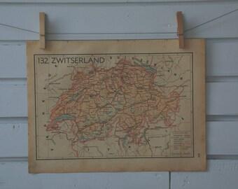 1941 Vintage Map of Switzerland