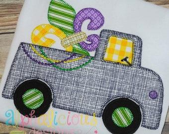 Mardi Gras Truck Applique Design- Blanket