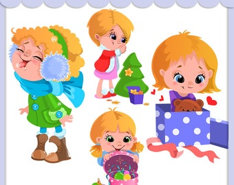 Christmas, New Year vector clipart. Cute girls set, Christmas tree, opening gift, eating snow, eat snowflakes, card making, digital clip art