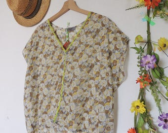 Light yellow and tobacco liberty blouse / by classy *.