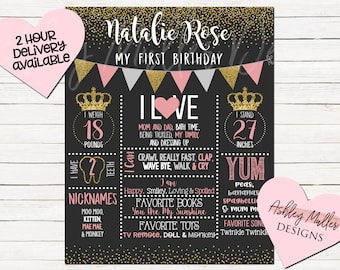 Pink and Gold First Birthday Chalkboard - Glitter - 1st Birthday Chalkboard - Princess - Crown - 1st Birthday Sign Stats Chalkboard Pink