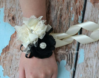 Beautiful Black & Ivory Chiffon Flower Wrist Corsage | Wedding Corsage | Country Fall Wedding | Mother of the Bride Prom | Cream | Pearl