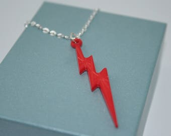 Red Lightning Bolt Necklace, Fun Necklace, Gift For Her, Red Bolt Necklace, Large Bolt, 80's Jewellery