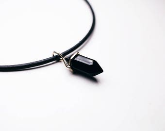 Black Crystal Necklace, Gold Choker, Simple Gold, Crystal Chokers, Leather Chokers