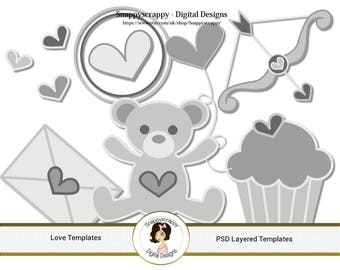 Valentine Photoshop Layered Templates - Love and Romance PSD Templates