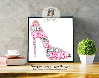 Shoe Typography,  Shoe Word Art.   Print Your Own,  Instant Download