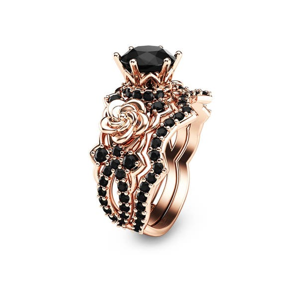Black Diamond Gold Engagement Ring Set 14K Rose Gold Flower