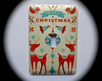 METAL Decorative Single Switch Plate ~ Christmas, Reindeer, Merry Christmas, Light Switchplate, Switch Plate Cover, Home Decor
