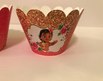 12 baby moana cupcake wraps