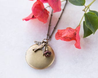 Bird Necklace, Antique Brass Locket, Swallow Jewelry, Bridesmaid Gift, Two Photo Locket, Round Photo Locket Necklace