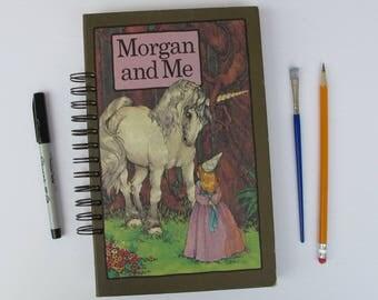 Morgan and Me vintage book journal, unicorn journal, unicorn gift