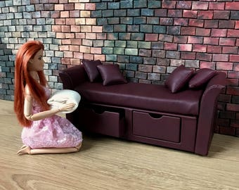 Purplish-Red leather doll Sofa with drawers, 1/6 scale sofa, 1/8 scale sofa, furniture