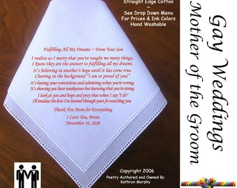 Gay Wedding ~ Mother of the Groom Gift from her son  Printed Wedding Hankerchief G806 Title, Sign & Date for Free!  LGBT Mr and Mr
