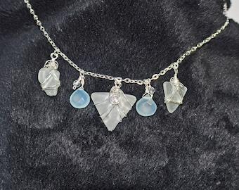 Maine Aqua Sea Glass, Aqua Chalcedony, Swarovski Crystals Necklace Silver chain
