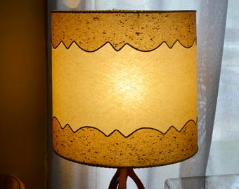 Vintage Mid Century Textured Fiberglass Lamp Shade with Gold Thread Trim
