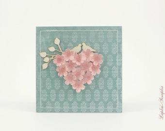 Wedding card, wedding card, handmade card, 15 x 15 cm