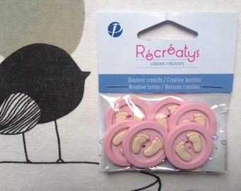 BUTTONS decorative feet baby pink - Recreatys