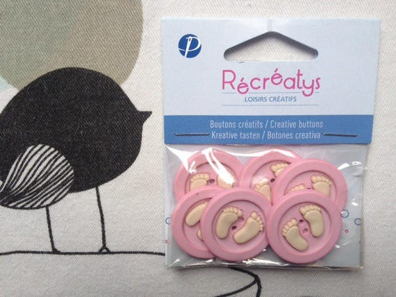BUTTONS decorative feet baby pink - Recreatys