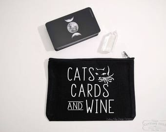 Cats Cards And Wine Black Canvas Zipper Bag | Tarot Gift | Crystal Pouch | Witch | Crystal Lover Gift | Cat Lover Gift | Wine Lover Gift