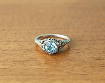 Lovely pale blue vintage filigree ring marked sterling