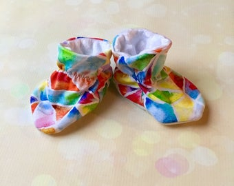 Soft Sole 0-6 Month Baby Booties in Watercolour Mosaic with White Minky Lining Baby Girl