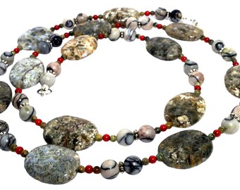Earth colors long necklace. Petrified wood, fossil jasper, picture jasper, coral beaded gemstone necklace. Gift from Seattle, Washington.