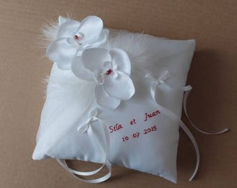 Personalized ring bearer wedding pillow, blanc(ou ivoire) cushion