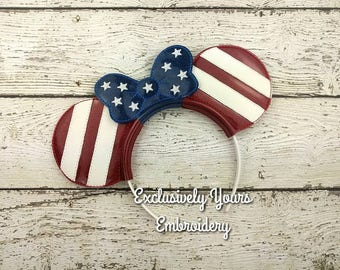 Americana Mouse Ears and Bow Headband - Photo Props