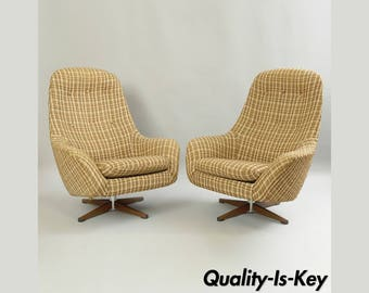 Vintage Pair of Swedfurn Mid Century Modern Pod Swivel Lounge Chairs Overman Style
