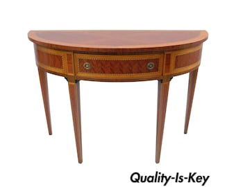 Italian Demilune Console Hall Table Inlaid Banded 1 Drawer Decorative  Crafts Inc