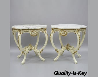 Pair of Vtg Roma Furniture French Provincial Louis XV White Marble Top End Table