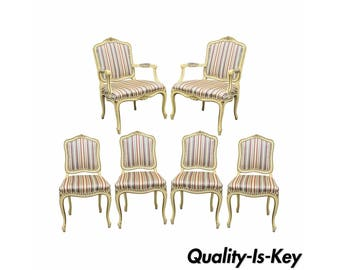 Set Of 6 Vintage French Provincial Louis XV Style Cream Painted Dining Room Chairs