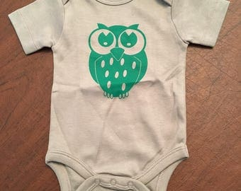 Owl Organic Cotton Baby Clothes Custom Screen Printed Onesie 0-3mo