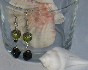 Pair of green and black earrings