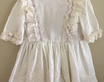 Vintage Eyelit Layered Dress Girls Sz 3T