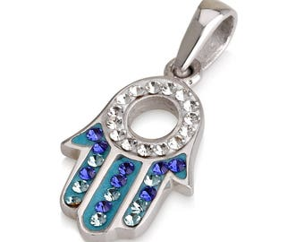 Hamsa Charm Pendant Necklace Kabbalah luck Fatima hand 925 Sterling Silver #18