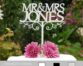 Personalised Mr & Mrs Wedding Cake Topper