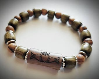 Celtic Claddagh Bracelet, carved in Irish Bog Yew Wood - 2000 Years Old, Hand Carved Dark Walnut & Marblewood beads, Stainless Steel Accents