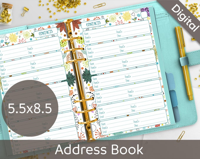 5.5x8.5 Address Book Pages Printable, Contact Sheets, Half size, Syasia Cute Floral Day Organizer, DIY Planner PDF Instant Download