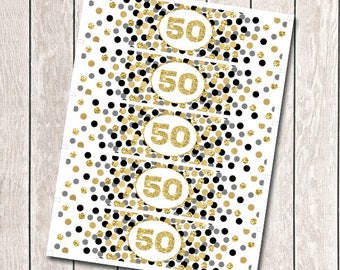 Water Bottle Labels Printable 50th Birthday Party Decorations Any Age Water Bottle Wraps Gold And Black Confetti Party Decor