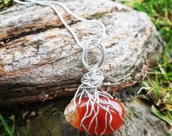 Carnelian Gemstone Crystal Necklace
