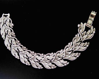 Vintage BSK Bracelet, Silver Tone Leaves, Signed, Leaf Cluster Links, Fold Over Clasp, Mid Century, Circa 1960s, Includes Gift Box