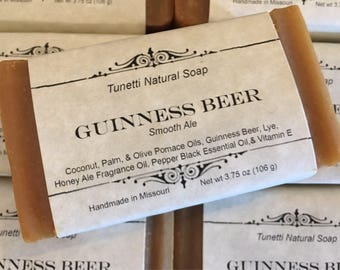 Guinness Beer Natural Homemade Moisturizing Soap Bar with Smooth Ale Scent, Handmade soap, Natural Soap, Cold Process Soap