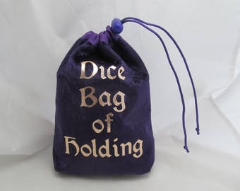 Dice Bag Pouch Velvet Dungeons and Dragons D&D RPG Role Playing Die Purple Dice Bag of Holding Reversible Lined