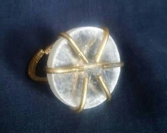 Crystal Selenite Ring // Healing Crystal Ring // White Selenite // Full Moon Adjustable Ring // Meditation Jewelry // Unisex Ring