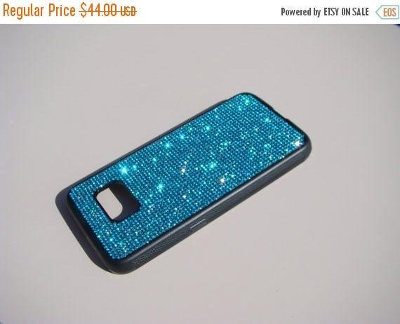 Sale Samsung Galaxy S7 Aquamarine Blue Rhinestone Crystals on Black Rubber Case. Velvet/Silk Pouch Bag Included, Genuine