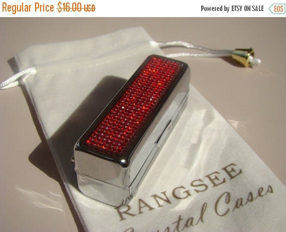Sale Lipstick Case with Mirror, Lipstick Box,  with Red Siam Rhinestone Crystals, Silk/Velvet bag incluede. Genuine Rangess Crystal Cases