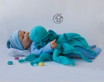 Octopus  Toy Baby Lace Blanket - pdf knitting pattern - knitting pattern (knitted round). Amigurumi Octopus