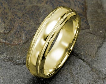 Yellow Gold Mens Wedding Band, Polished Mens Wedding Ring, Domed Mens Ring, Grooved Band, 6mm Mens Wedding Ring, Custom Laser Engraving